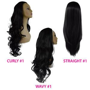"22"" Ladies 3/4 Wig Half Fall Clip Hair Piece Jet Black #1 3 Styles"
