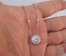 FINE 925 STERLING SILVER DESIGNERS PENDANT NECKLACE W/ 4 CT DIAMONDS/TOP QUALITY