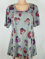 LuLaRoe Women's Size Large Gray Shirt Mickey Minnie Mouse Heads Short Sleeve