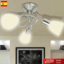 Lámpara de Techo Moderna E14 con 3 Tulipas Metal Cristal Gris y Blanca Familia