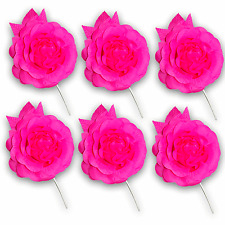 Craft Flowers Qty x 6 - Full Rose & Leaves Lge Hot Pink