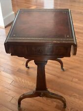 WEIMAN ANTIQUE HEIRLOOM One Drawer Mahogany Leather Top Drop Leaf Table Casters