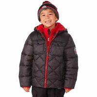Winter Jacket for Boys with Knitted Hat Snozu Charcoal and Red Puffer