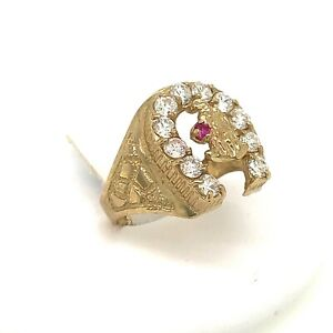 Mens 10kt Horse Shoe Ring Yellow Gold 1.60ct