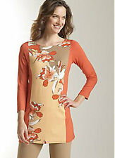 NWT-$99 J Jill WEAREVER Color Block Floral Tunic Top SLIMMING BEGONIA 1X 18W-NEW