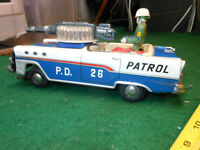 VINTAGE TN NOMURA POLICE PATROL Japan Tin Toy  Car 50s 1960 Space Litho
