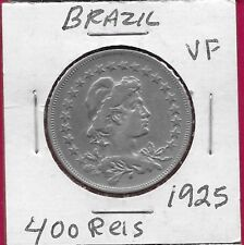 BRAZIL REP 400 REIS 1925 VF LIBERTY BUST RIGHT,DENOMINATION WITHIN CIRCLE,DATE