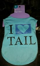 NEW I Heart Tail  Pet Dog Cat Tshirt Clothes S Small Blue Worldwide Shipping