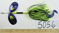 musky muskie pike double inline spinner fishing lures bait chartruse/purple 5056