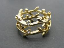 $8 Carole Inc. Set Of 2 Stackable Leaf Rhinestone Rings Goldtone Metal Size 8