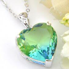 London Blue Watermelon BI-COLORED Tourmaline Gems Silver Heart Necklace Pendants