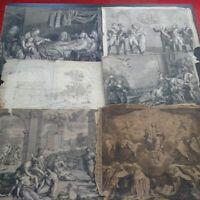 Ensemble 7 gravures très grand format XVIIème XVIIIème et XIXème siècle Greuze