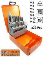 Coffret Jeu de tarauds à main métriques HSS : M3 M4 M5 M6 M8 M10 M12 Richmann