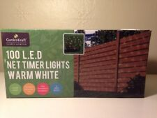 GardenKraft Battery Operated Net Timer Light with 100 LED - Warm White