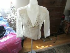 Almost Famous off white studded Sheer Lace Blouse Cami-Bra Size L Nwt