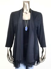CHICO'S TRAVELERS NWT 2. (L) BLACK CHIFFON SHEER-TRIM DRAPED JACKET $117