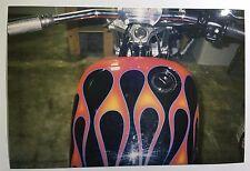 Vintage PHOTO Of A Custom Harley Davidson Motorcycle w/ Flame Paint Job Gas Tank