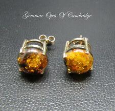 Large 9K gold 9ct Gold Amber Stud Earrings2.85g 10mm diameter