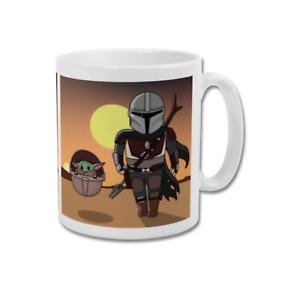 BABY YODA AND MANDO The Child Grogu Coffee Mug Tea Cup Present Gift Idea Him Her