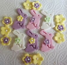 16 EASTER BUNNIES AND LARGE BLOSSOM Edible sugar cake decoration