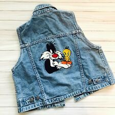 Vtg Warner Bros Kids Sz L Denim Jean Jacket Vest Tweety Sylvester Looney Toons