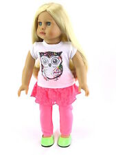 """Owl Pants Leggings Set w/ Top Doll Clothes Fits 18"""" American Girl 2 PC"""
