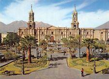 Spain Plaza de Armas Iglesia de la Catedral y el Volcan Chachani al Fondo