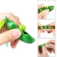 Cute Squishy Peas In Pod Keyring Edamame Keychain Mochi Bean Fidget Toy funny