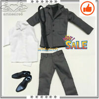 "1:6 Male Gray Set Suit Trousers Clothing Set For 12"" Phicen Body Action Figure"