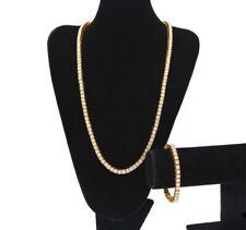 Men's Gold Tennis Bracelet + Chain Set Lab Diamonds Miami Bling Iced Out Rap New