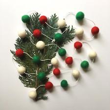 Rustic Christmas Decorations Garland Pom Pom Felt Ball / Tree Decor / Red Green