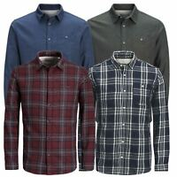 Mens Check Shirt JACK & JONES Chirstopher Long Sleeve Collared Cotton Casual Top