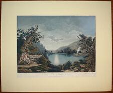 stampa antica La Nuit Notte romantica old print gravure acquaforte a colori 1820