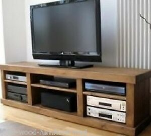 REAL SOLID WOODEN RUSTIC PLANK PINE TV STAND ENTERTAINMENT UNIT -any size made-