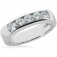 1.25 ct total 5 Round Diamond Ring Wedding Band Channel H color SI1/SI2 clarity