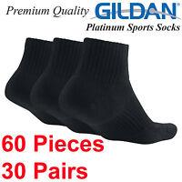 Gildan Platinum Sports Black Socks above ankle Size 6 7 8 9 10 11 12 Men Women