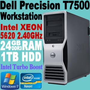 Dell Precision T7500 Tower Workstation Intel Xeon 5620 2.4GHZ 24GB 1TB WIN-7+COA