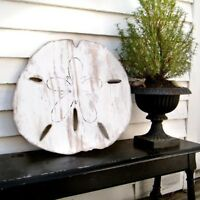 Beach theme wood wall art oversized sand dollar rustic beach house