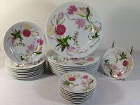 Horchow Flowered Dinnerware Stoneware China Dishes