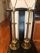 Pair of Mid Century Stiffel Lamps Brass Hollywood Regency
