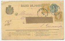 Rumänien GA ZuF Postkarte Jassy Deutschland 1877