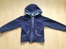 Strickjacke mit Kapuze Gr. 98/104 aus Baumwolle blau