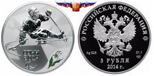 Russia 3 rubles 2014 Sochi Olympic Games Ice Sledge-Hockey Silver 1 oz PROOF