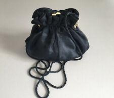 BLACK ORGANZA puffy EVENING BAG shoulder bag Long strap formal cocktail goltone