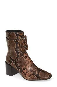 Jeffrey Campbell Godard Brown Snake/Cheetah Bootie Size 7