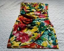 Speechless Size 11 Strapless Ruched Wrap Floral Bright Mini Sheath Body Dress