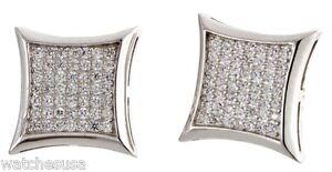 Sterling Silver White CZ Stones 13mm Kite Shape Stud Unisex Earrings