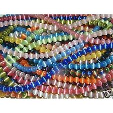 100pcs Colorful Cube Glass Beads Cat/'s Eye Style Smooth Loose Spacer Craft 4x4mm