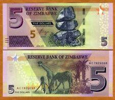 ZIMBABWE - 2019 5 Dollars  UNC Banknote