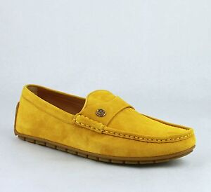 New Gucci Yellow Suede Leather Loafer Shoes w/Silver Interlocking G 386587 7008